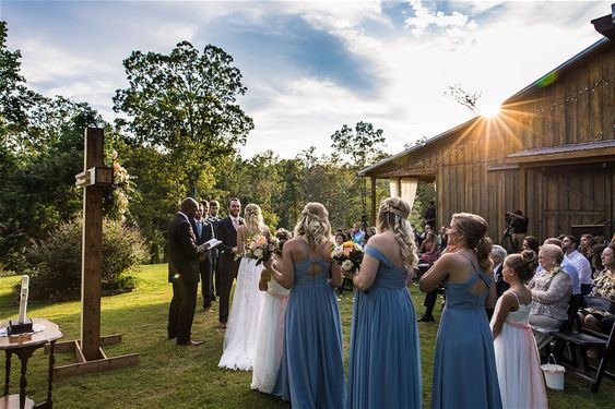 Outdoor ceremony at barn wedding venue in North Georgia
