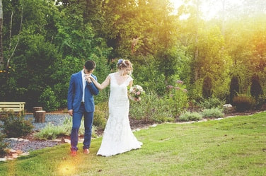 Pleasant Union Farm wedding venue with seasonal gardens for bride and groom pictures
