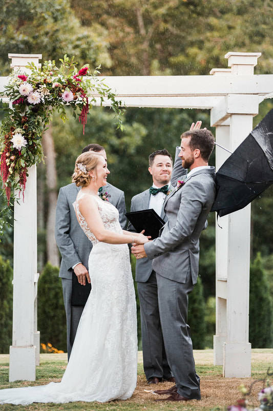 Rainy wedding day ceremony, Woodstock, GA